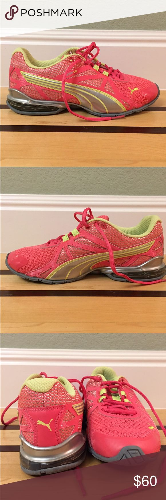 Pink Puma Running Shoes Style IOCELL 1.0. Light pink and light green. Only worn once Puma Shoes Athletic Shoes