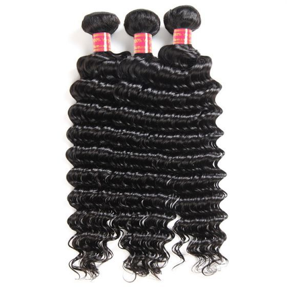 10A Mink Deep Wave 3 Bundles Brazilian Human Hair Natural Color