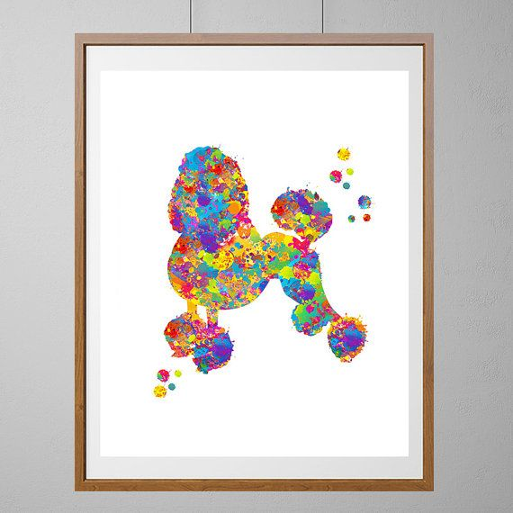 Francese stampa acquerello del cane barboncino, cane, cane, attaccatura di parete verticale Poster Home Decor vivaio arte [N91]