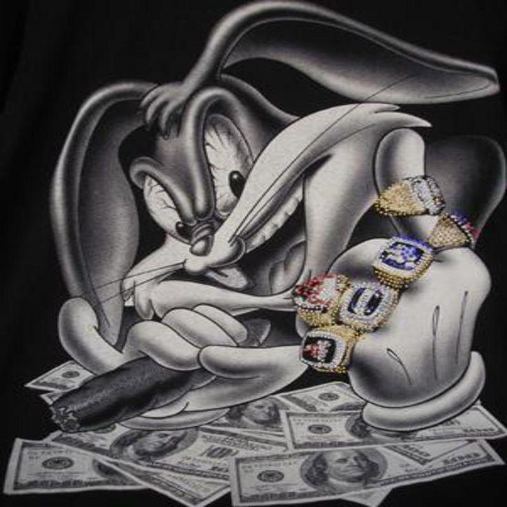 Vintage Looney Tunes Bugs Bunny XL Black T Shirt Gangster ...  |Bugs Bunny Cholo