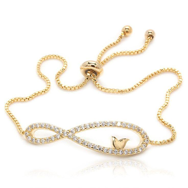 Amazon.com: Infinity Luxury Bracelet 50 Round Cubic Zirconia Gold Plated Box Chain: Jewelry