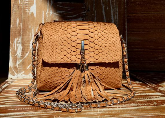 natural python leather bag beige colour by OkeanaAccessories