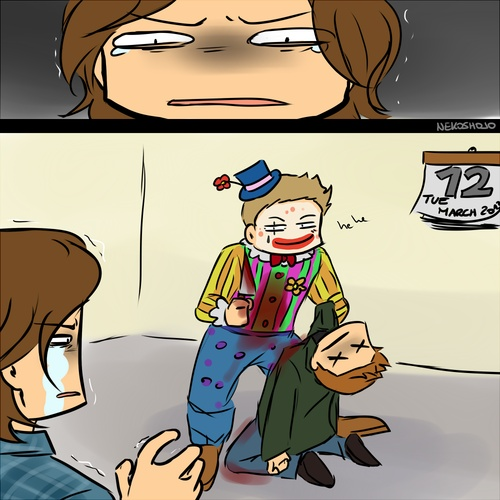 Sam Winchester's ultimate fear: Lucifer, dressed up as a clown, killing Dean, on a Tuesday. Fan Art