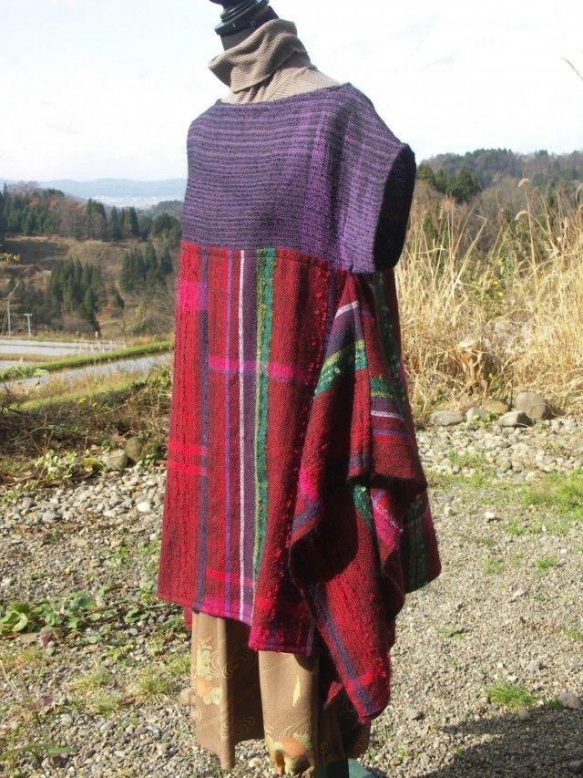 さをり織り 手織りのロングチュニックベスト