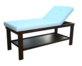 Basic Wooden Treatment bed. Available in natural wood, dark mahogany finish, black satin and white gloss.