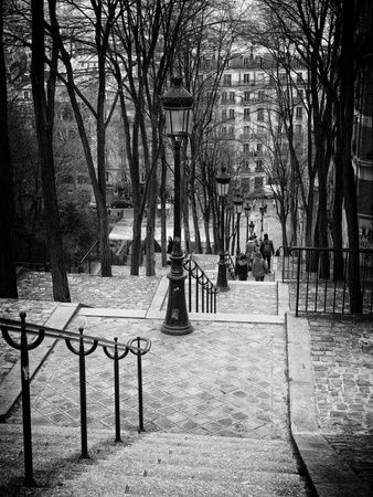 Staircase Montmartre - Paris - France Stretched Canvas Print by Philippe Hugonnard at Art.com
