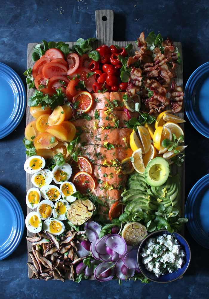 Beautiful SALMON COBB SALAD BOARD {recipe}