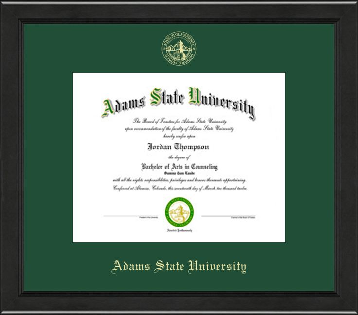 Adams State University  - Gold Embossed Diploma Frame in Arena with Tartan Green Mat
