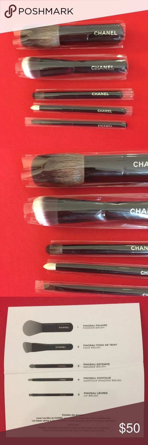 Chanel Mini Travel Brush Set Set of 5 Chanel Mini Travel Brush Set From Holiday 2016             Les Minis De Chanel. No Box. No Tags. Unused/New.               Mini Travel Set Includes: powder brush, face brush,            smudge brush, contour shadow brush and lip brush                  (I Originally Bought 2 Sets, Decided To Sell This One)                 *Offers Welcome* CHANEL Makeup Brushes & Tools