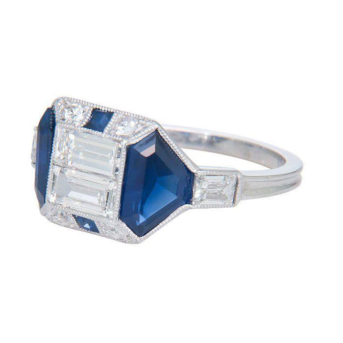 Fabulous Art Deco Diamond and Sapphire Ring at 1stdibs