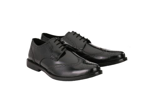"""Mens Formal Oxford Wingtip Black Leather Brogues 