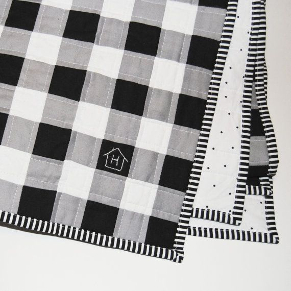 Black Grey and White Buffalo Plaid Baby Quilt by HomebodyHappy