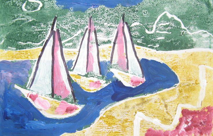plachetnice  (kolorovaný linoryt)  Burjan