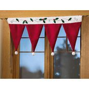 DIY with santa hats from dollar tree, stockings would be cute too...Santa Hat Valance Christmas Decorating