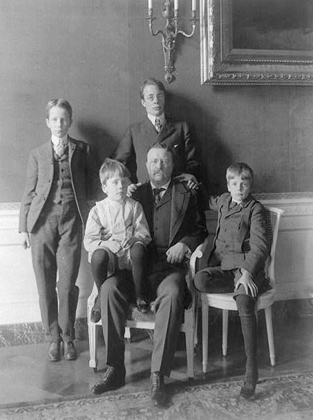 Theodore Roosevelt - 26th President of the United States - and sons. Although posed somewhat stiffly the group looks affectionate. It is unusual for boys of this period to demonstrate affection in the way we see here.