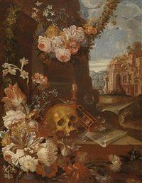 Ein Vanitas-Stillleben mit Blumen, Totenkopf, Sanduhr, Seifenblasen und Ruinen di Franz Werner von Tamm