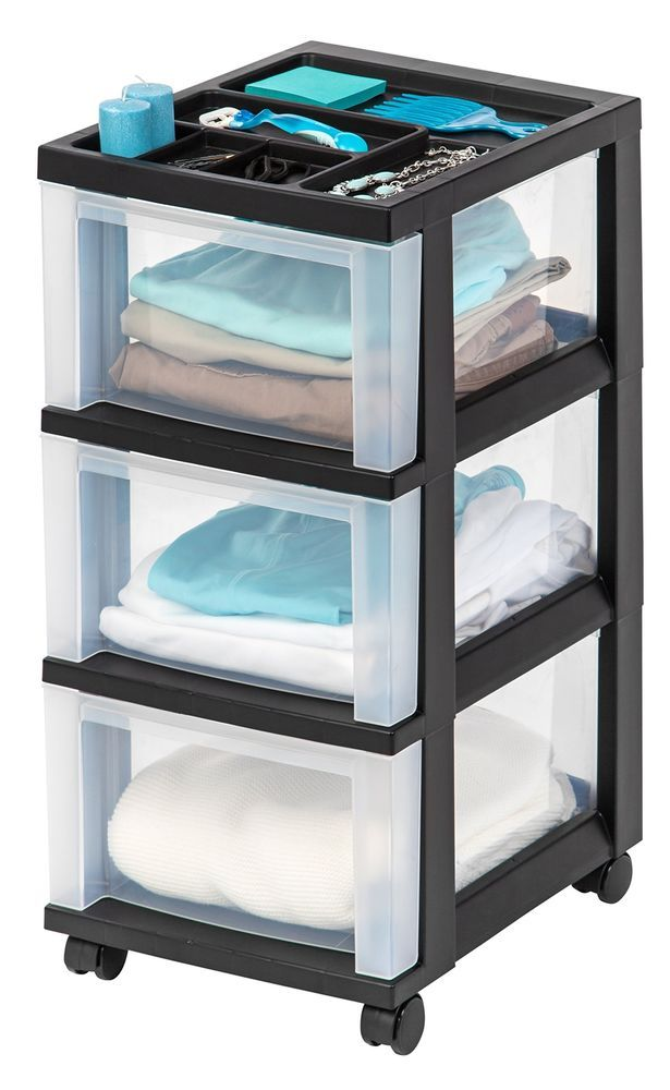 3 DRAWER PLASTIC Storage Cabinet ROLLING Cart Organizer Top Container Box Black #IRSIUSAInc
