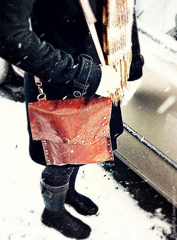 Купить Сумка-планшет унисекс рыжая винтажная кожа с эффектом Pull Up - кожаная сумочка