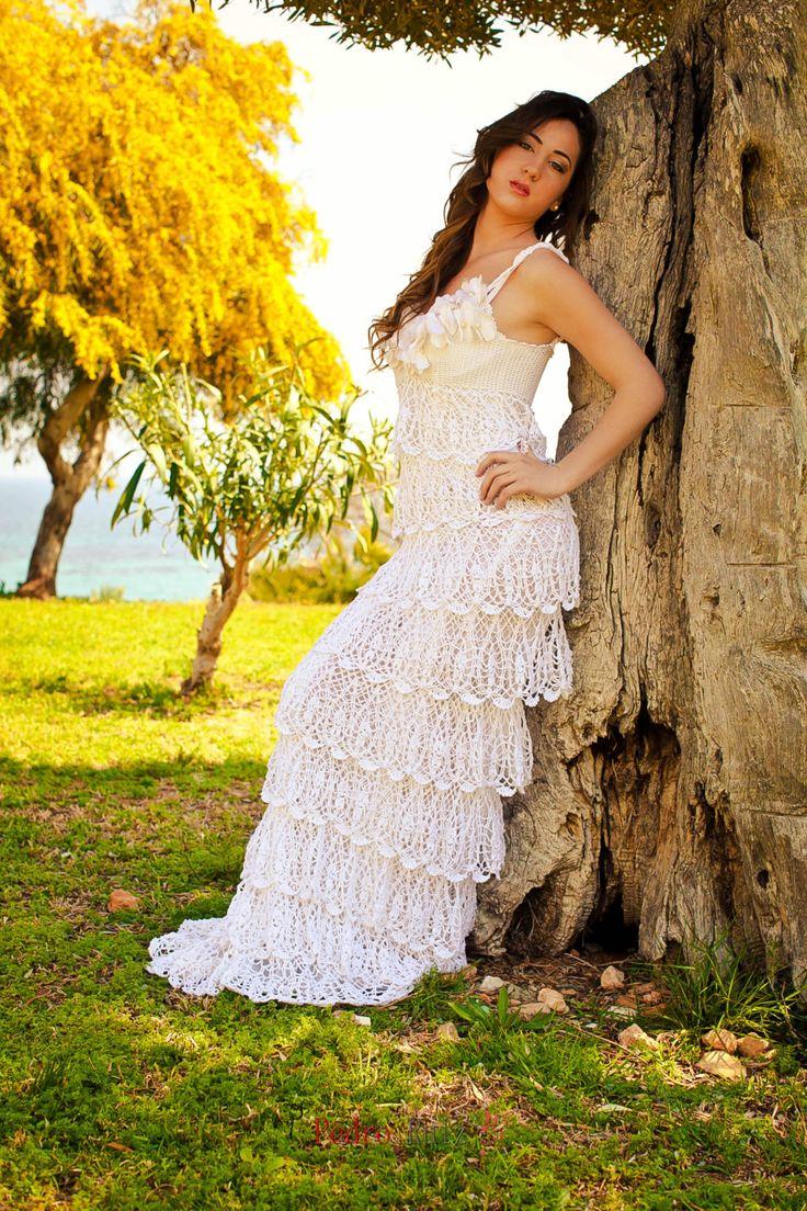 Vestido de novia exclusivo del ganchillo con volantes el