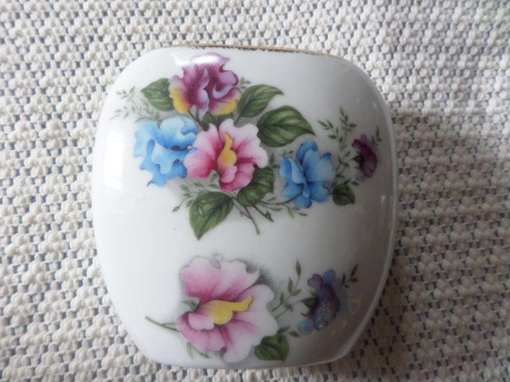 Pillow shape vase, sweetpea design, gilded top edge, English bone china, staffordshire china, small pillow vase, floral pattern, bone china by MaddisonsRainbow on Etsy