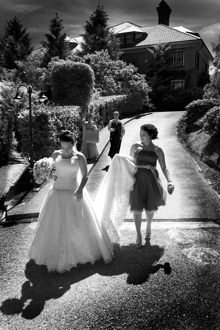 bride walking B/W