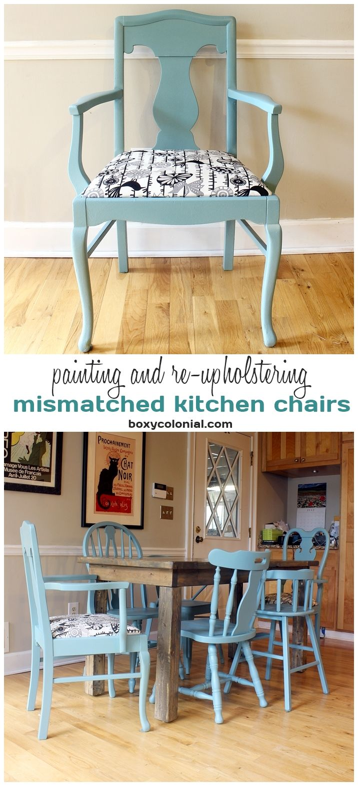 Painting and Re-upholstering Mismatched Kitchen Chairs