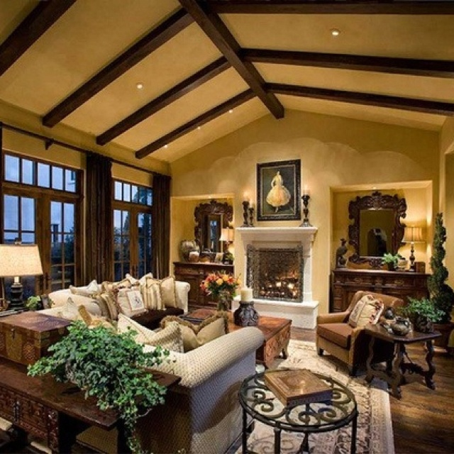 Delightful Warm Living Room Cathedral Beamed Ceilings