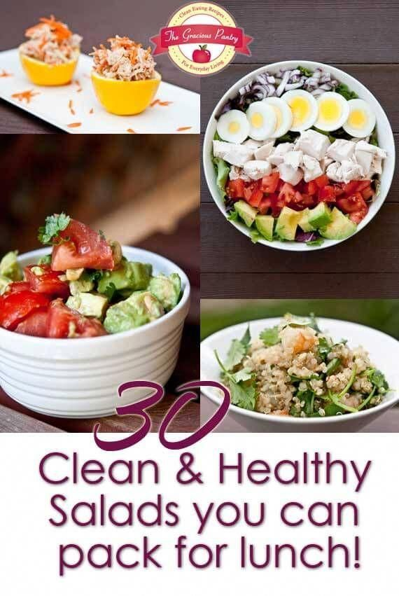 30 Clean Eating Salads You Can Take For Lunch #HealthyLunch [ GroovyBeets.com ] #cleanfoodsforhealth #cleaneatingdiet