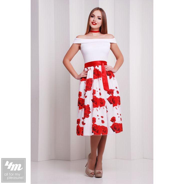 Платье Glem «Эмми Б/Р» (Красный, белый принт розы) http://lnk.al/3ncF  Состав: кукуруза+креп-шифон (100% полиэстер)