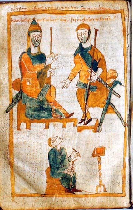 Charlemagne (left) and his eldest son, Pepin the Hunchback. Tenth-century copy of a lost original from about 830.Besides the fire damage, the building itself, as well as the collection, took damage from raids and wars, including the Fourth Crusade in 1204 CE. During this sack of the city by the Franks and Venetians the Imperial Library was burned, probably destroying a great deal of the collection.