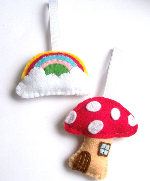 Felt Rainbow & Toadstool House, Fairytale Decor, Rainbow Decorations, Felt Ornaments, Twig Tree Hanging Ornaments  Cute pair of hanging decorations /