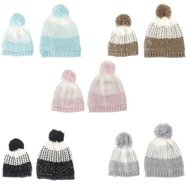 Hot Deals $5.37, Buy 2PCS Mom and Me Family Match Hat Woman Baby Warm Winter Knit Beanie Fur Pom Hat Crochet Ski Cap Cute