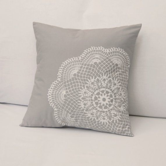 Doily Pillow! Sew one onto an existing pillow or make a special one out of the fabric of your choice. Great gift idea!