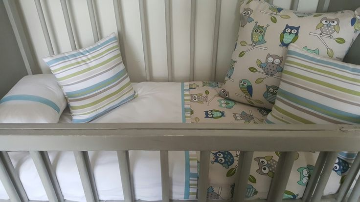 Owl and Stripes cot Linen ready for delivery.