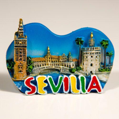 Resin Fridge Magnet: Spain. Sevilla Attractions