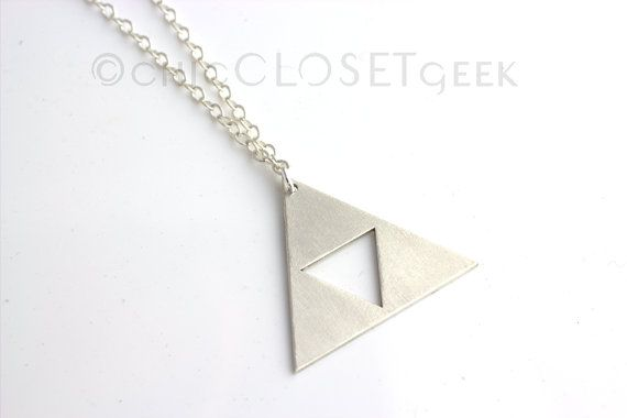 Triforce Necklace - Sterling Silver Zelda jewelry, The Legend of Zelda. This would be something nice and simple to wear.