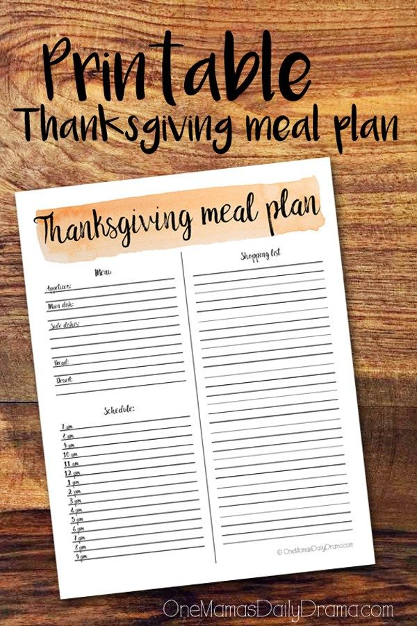 Printable Thanksgiving meal plan for hosting dinner | Organize your menu, shopping list, and cooking schedule all on one page.