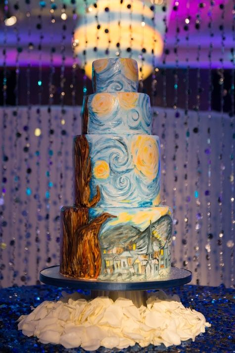 Van Gogh Starry Night hand painted wedding cake