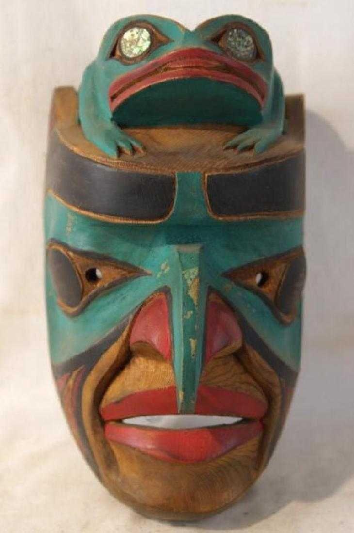 Kwakiutl Wood Carved Eagle Mask With Frog On