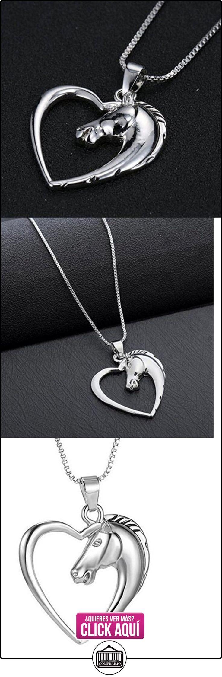 Collar, Colgante de cabeza de caballo de mujer con un corazón, 3x3 cm.  ✿ Joyas para mujer - Las mejores ofertas ✿ ▬► Ver oferta: http://comprar.io/goto/B01N93Z844