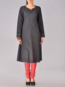 Khadi cotton with vertical and horizontal running stitch, and red chuiridar