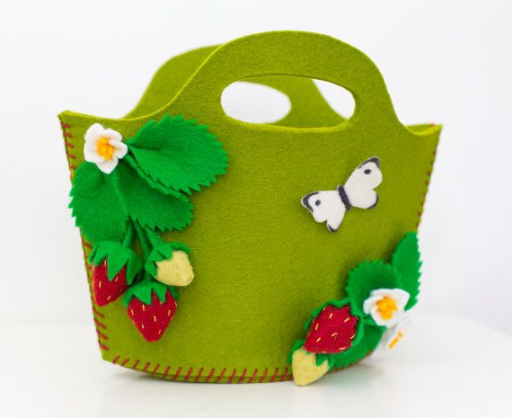 Strawberry purse handbag with strawberry blossoms for little (and big) girls in kiwi green. Can be personalized with name. From Babes in the Woods. $48