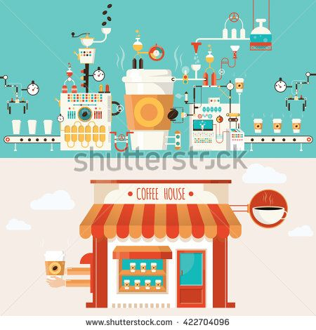 illustration of coffee factory, coffee industry