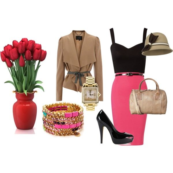 Pink pencil skirt with black and taupe