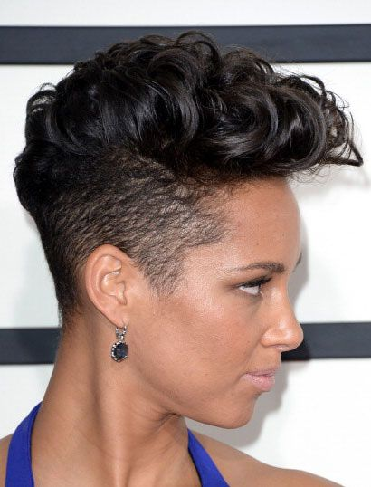 tapered natural hair curled mohawk sides shaved; rolller set -- Alicia Keys' Ferocious Curly Mohawk at the 2014 Grammy Awards