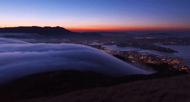 fog pouring over San Francisco Bay Area