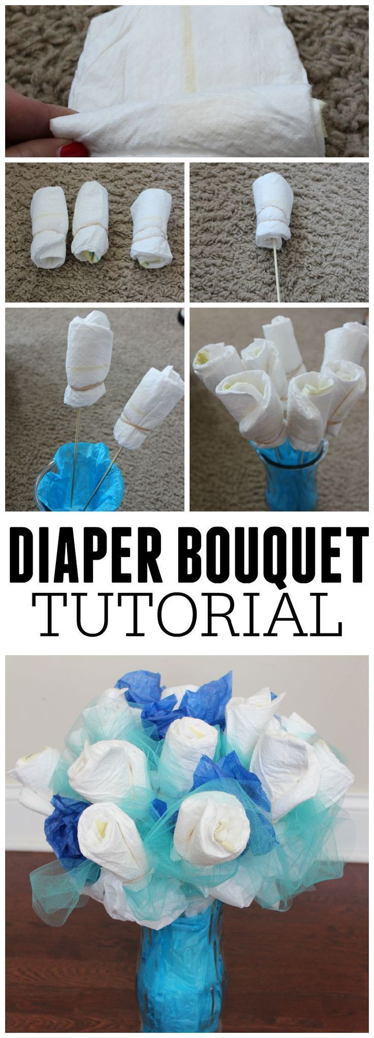 how to make a diaper bouquet picture tutorial baby shower