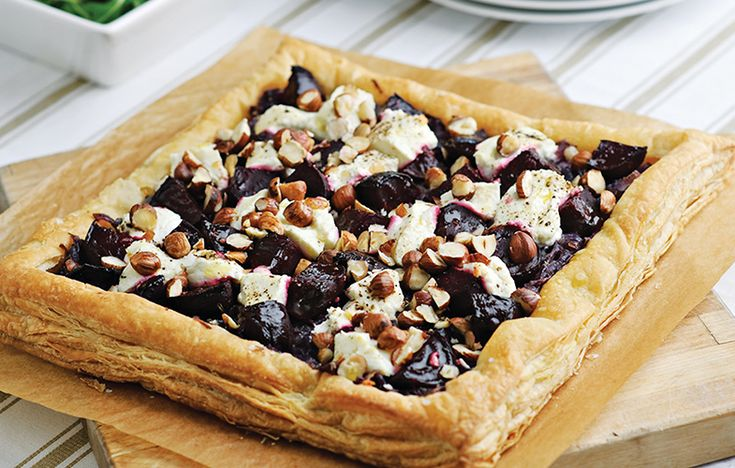 Beetroot, goat's cheese and hazelnut tart. Follow link for full recipe from appetite, North East England's dedicated food & drink publication.