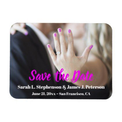 Save the Date with Photo Engagement Ring Magnet - engagement gifts ideas diy special unique personalize