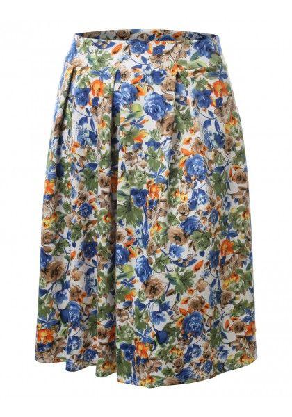 Scuba Floral Midi Skirt - New Arrival